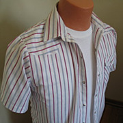 Authentic Vintage 1970s Red White & Blue Striped Cowboy Rockabilly VLV Shirt All American S