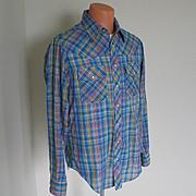 Vintage 1980s Cobalt Blue Woven Plaid Western Shirt Slim Tall
