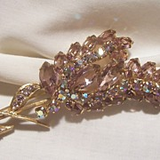 Fantastic Rare large 5'L Purple open back and peacock AB Blues Rhinestone Brooch