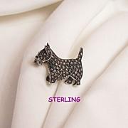Fabulous small sterling marcasite red rhinestone eye Scottie Dog Brooch