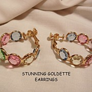 Gorgeous Rare Ben Gartner Goldette pastel glass Jour crystal Earrings