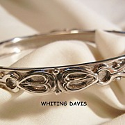 Whiting Davis Co Beautiful Silver tone side open Bangle Bracelet
