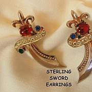 Fabulous Sterling Rhinestone fleur de lis top Sword Earrings Designed by Murray Slater 1947
