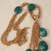 Fantastic bold and rare molded simulated Jade color bead dangling Necklace Celebrity