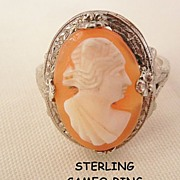 Victorian Sterling portrait cameo Ring