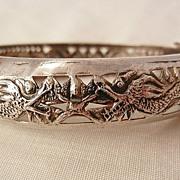 Fantastic Silver Art Nouveau Style Double Dragon Bangle Bracelet