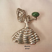 Outstanding Silver Mexico Art Nouveau dancing woman with Calcite stone