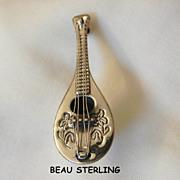Exquisite vintage Beau Sterling Mandolin Brooch
