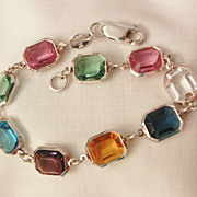 Gorgeous Italy Sterling Jour square bevel cut pastel gem color crystal Bracelet