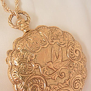 Rare large Goldette locket necklace Beautiful repousse Lithe Bird Mint Condition