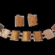 Vintage Asian silver craved tiger eye warriors symbol Bracelet Earring Set