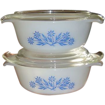 Two Vintage 12 OZ. Fire King Dishes with Reversible Lids