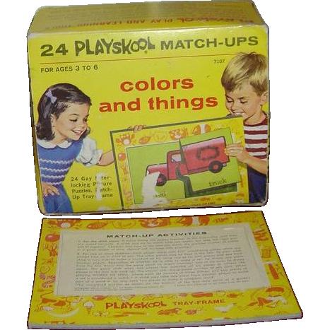 Playskool Match-Ups Interlocking Picture Puzzles c. 1964