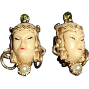 Fabulous Vintage Oriental Goddess Clip Earrings