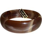 Two-Tone Brown Lucite Bangle Bracelet with Original Tag