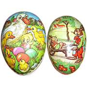 Two Vintage Paper Mache Easter Egg Candy Containers