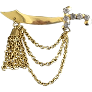 Vintage Sword Dangle Pin with Rhinestone Accents