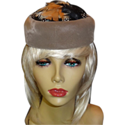 Vintage Taupe Velour Pill Box Hat with Feather Accents