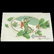 German Embossed Christmas Greetings Postcard