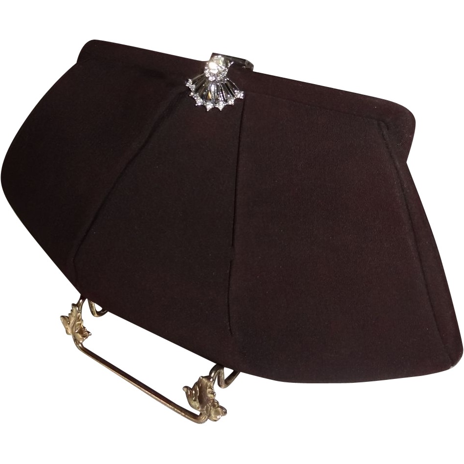 Vintage Ruched Brown Evening Bag with Deco Rhinestone Clasp and Attached Coin Purse