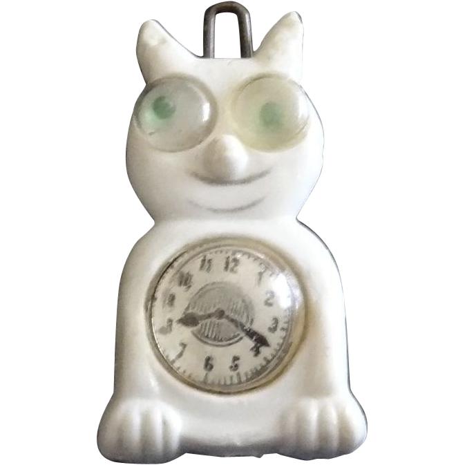 Vintage 1950's Google-Eyed Clock Cat  Hair Clip