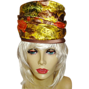 Vintage High Fashion 1960's Tall Structured Silk Brocade Turban Hat