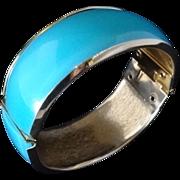 Blue Moonglow Lucite over Metal Hinge Bracelet