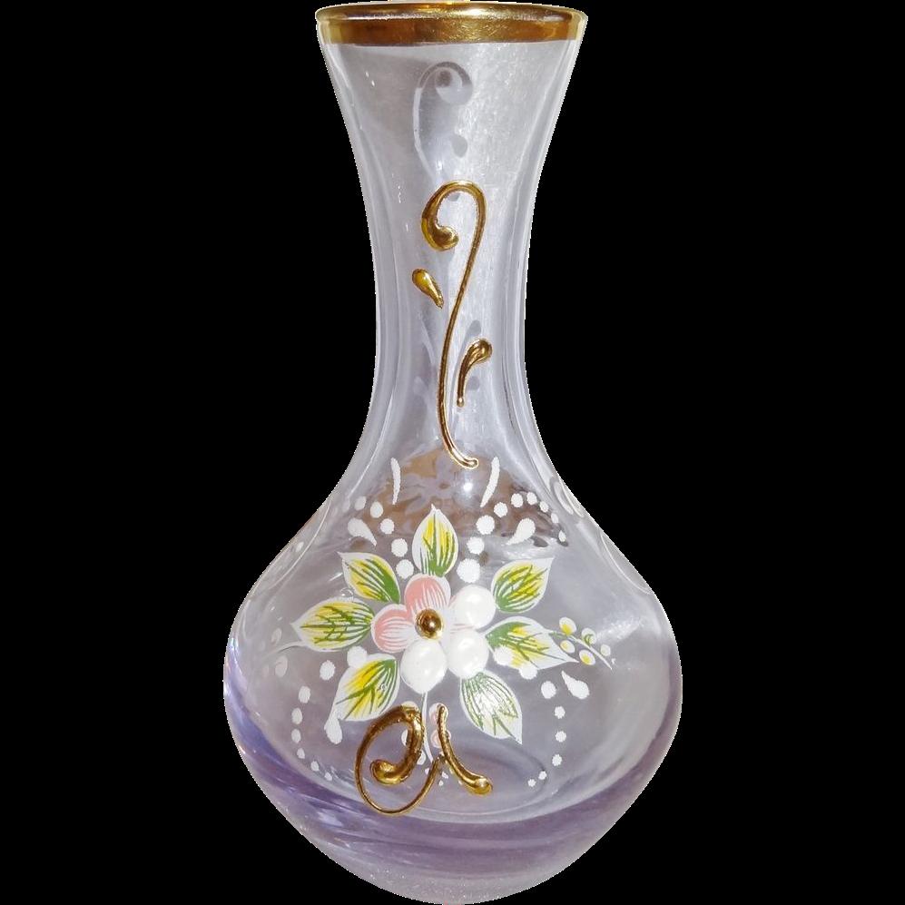 Vintage Miniature Enameled and Gilt Bohemian Glass Vase