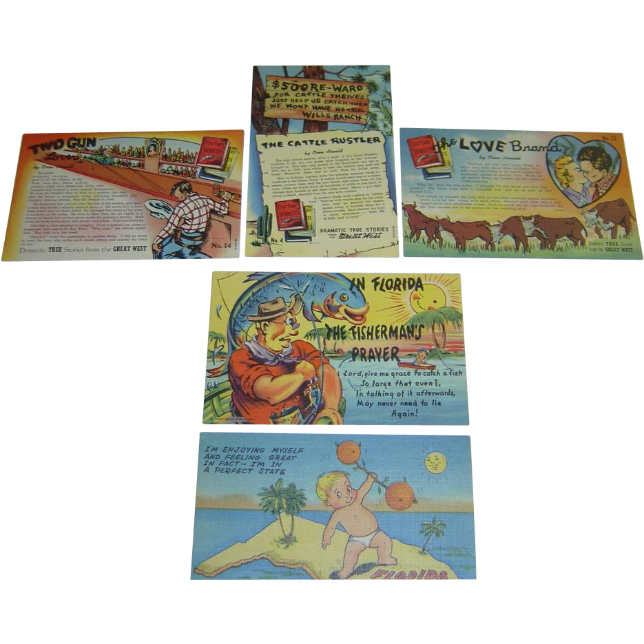 Five Vintage 1950's Linen Western Story and Humorous Florida Postcards