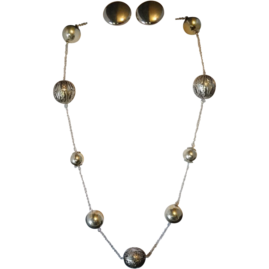 Silvertone Metal Bead Necklace and Earrings