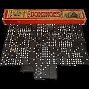 Vintage Wooden Indian Chief Double Nine Dominoes in Original Box