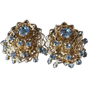 Vintage Light Blue Rhinestone Dangle Cha-Cha Earrings