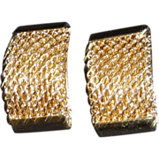 Textured Goldtone Metal Clip Earrings by Bergere