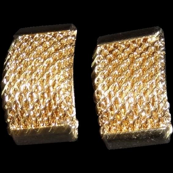 Textured Goldtone Metal Clip Earrings by Bergere