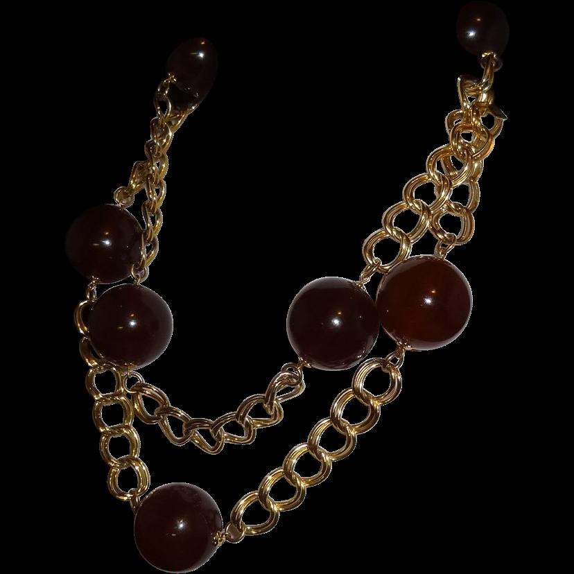Vintage Amber Lucite and Goldtone Metal Chain Belt  by Kenneth J. Lane