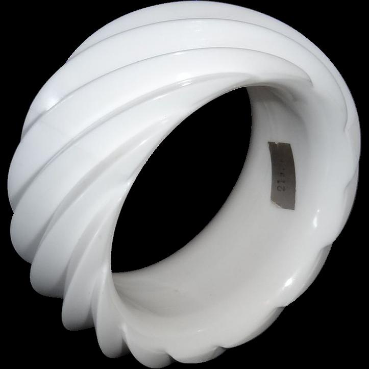 HUGE White Spiral Molded Plastic Bangle Bracelet Made in Western Germany