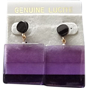 Vintage Lavender Lucite Earrings ~ New Old Stock