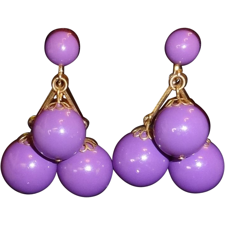 Vintage Purple Lucite Ball Dangle Drop Earrings