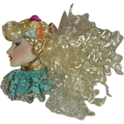 Vintage Large Blonde Lady Face Pin