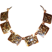 Vintage Copper and Gold Tone Metal Embossed Panel Necklace