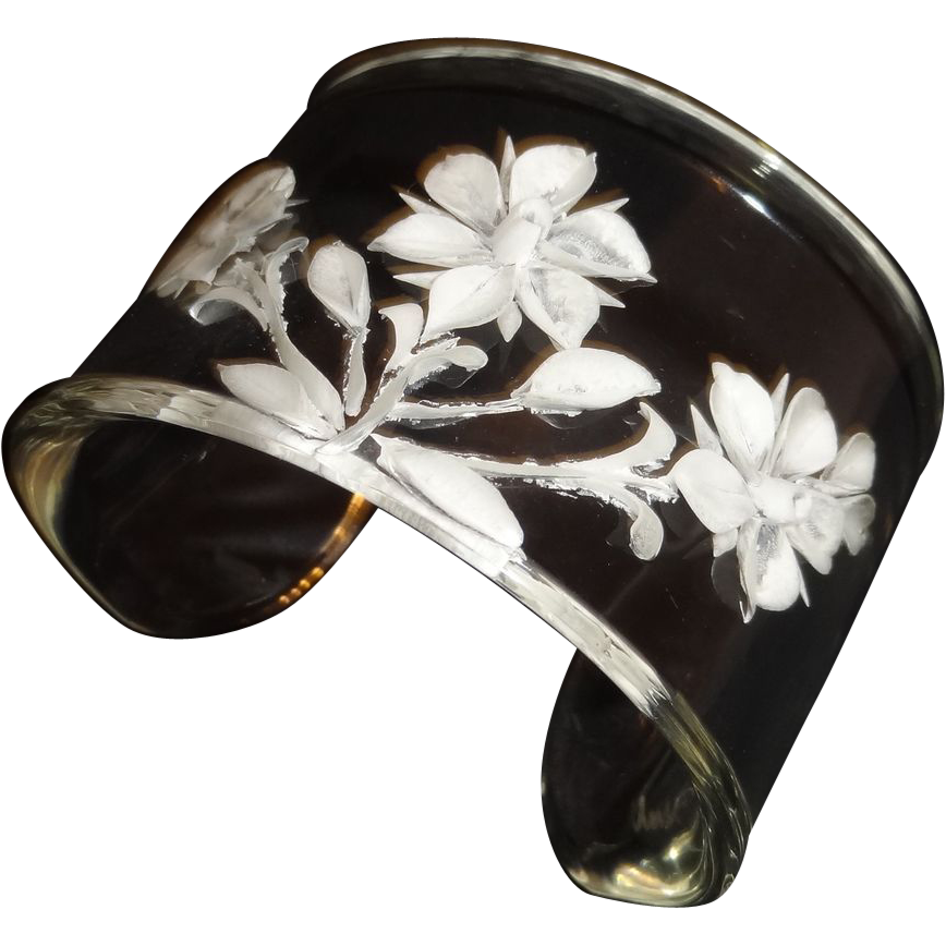 Gorgeous Wide Reverse Carved Clear Lucite Cuff Bracelet Signed Riul