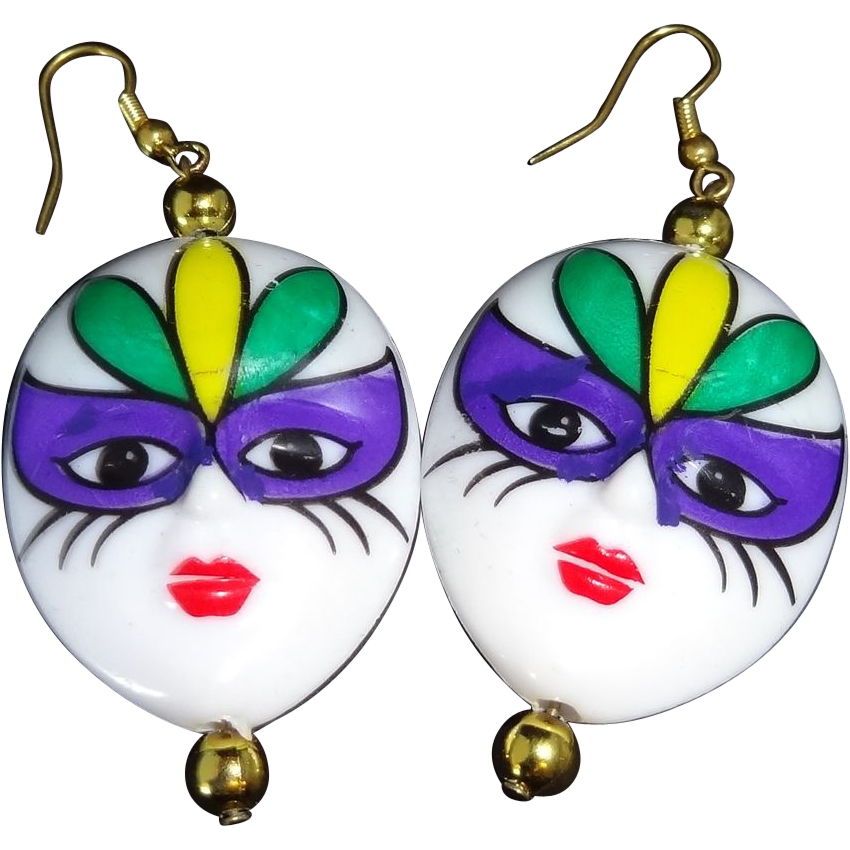 Vintage Double-Sided Puffy Resin Mardi Gras Face Earrings