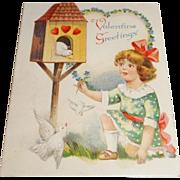 """Vintage German Die-Cut Fold Out Valentine """"Valentine Greetings"""""""
