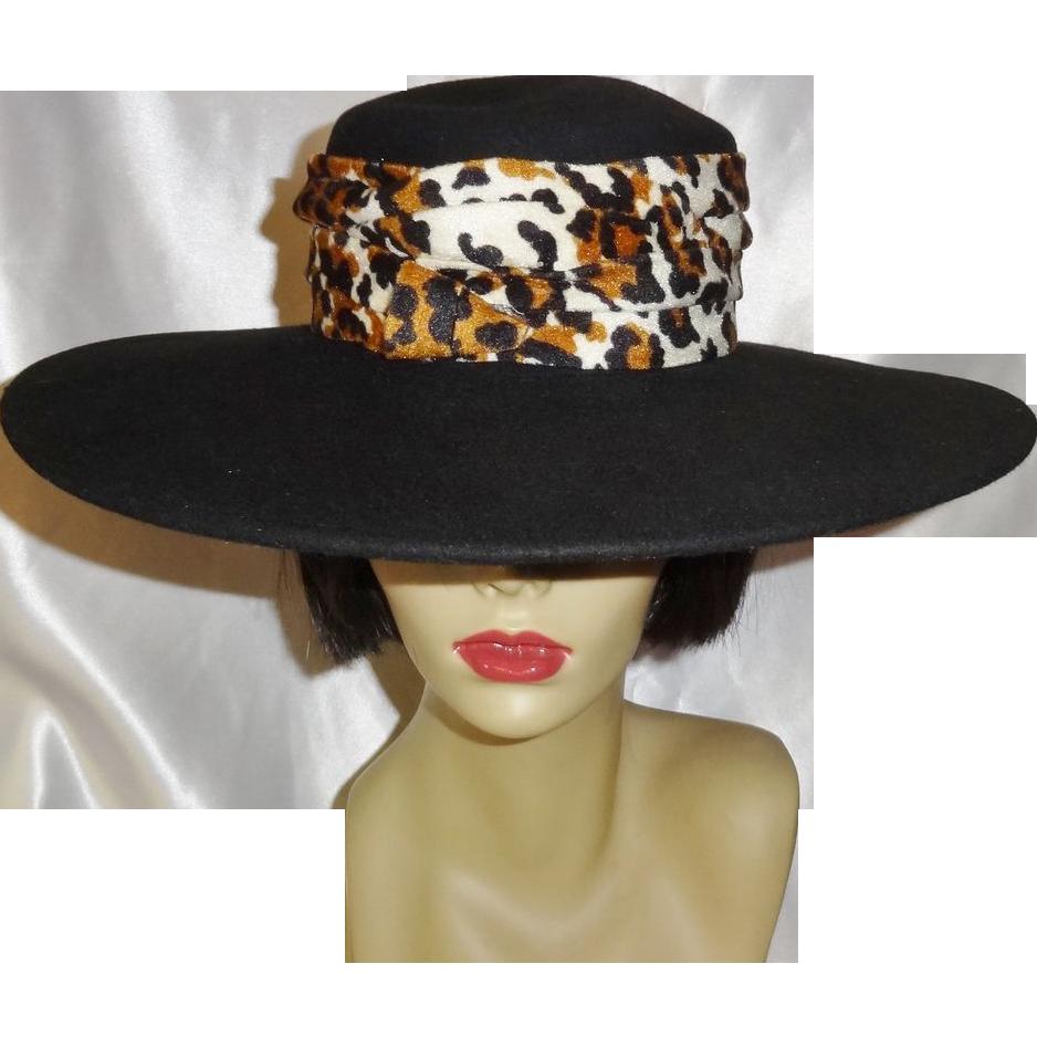 Elegant Vintage Black Wide Brimmed Wool Hat by Belinda