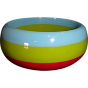 Vintage Pink Green and Blue Laminated Lucite Bangle Bracelet