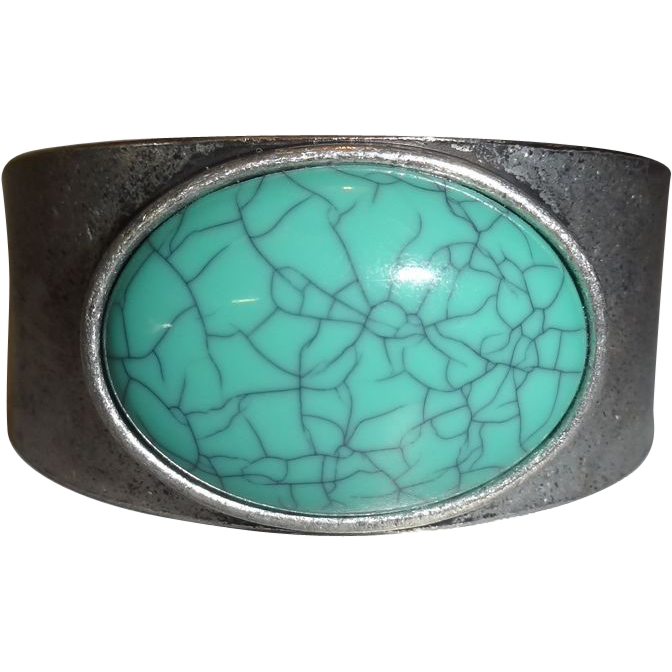 Vintage Chunky Faux Turquoise and Silver Tone Metal Hinge Bracelet