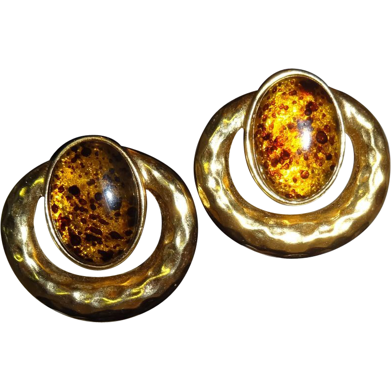 Vintage Faux Amber and Gold Tone Metal Clip Earrings