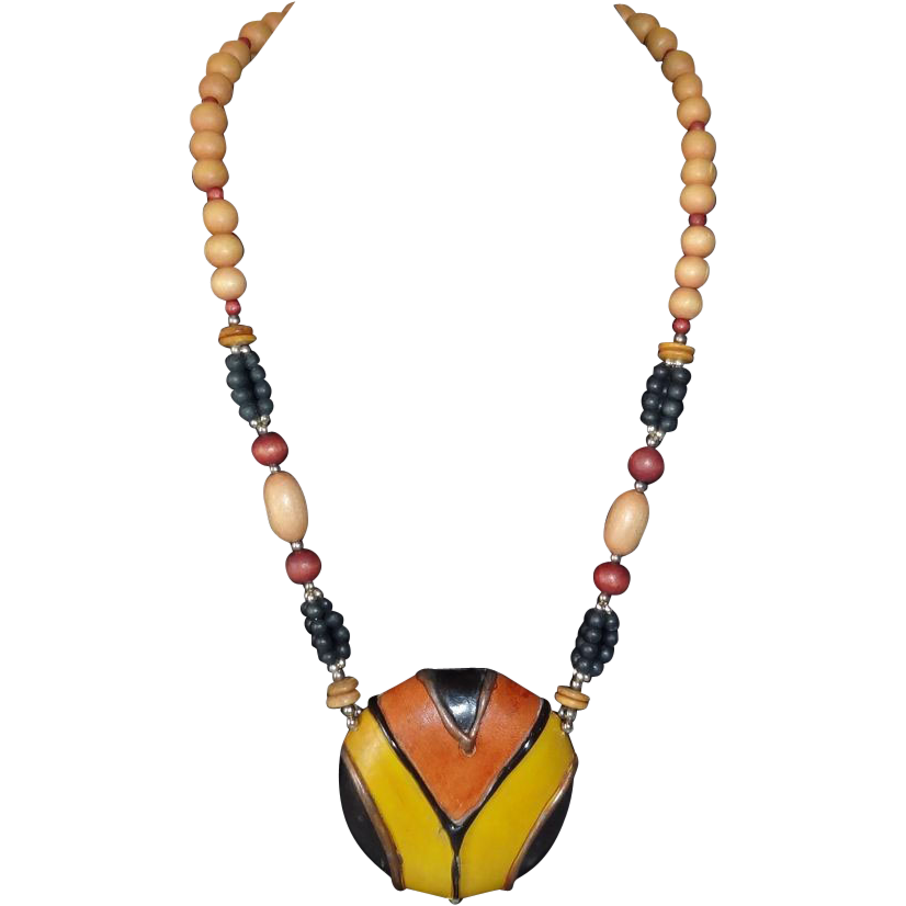 Vintage 70's Leather and Wood Tribal Necklace