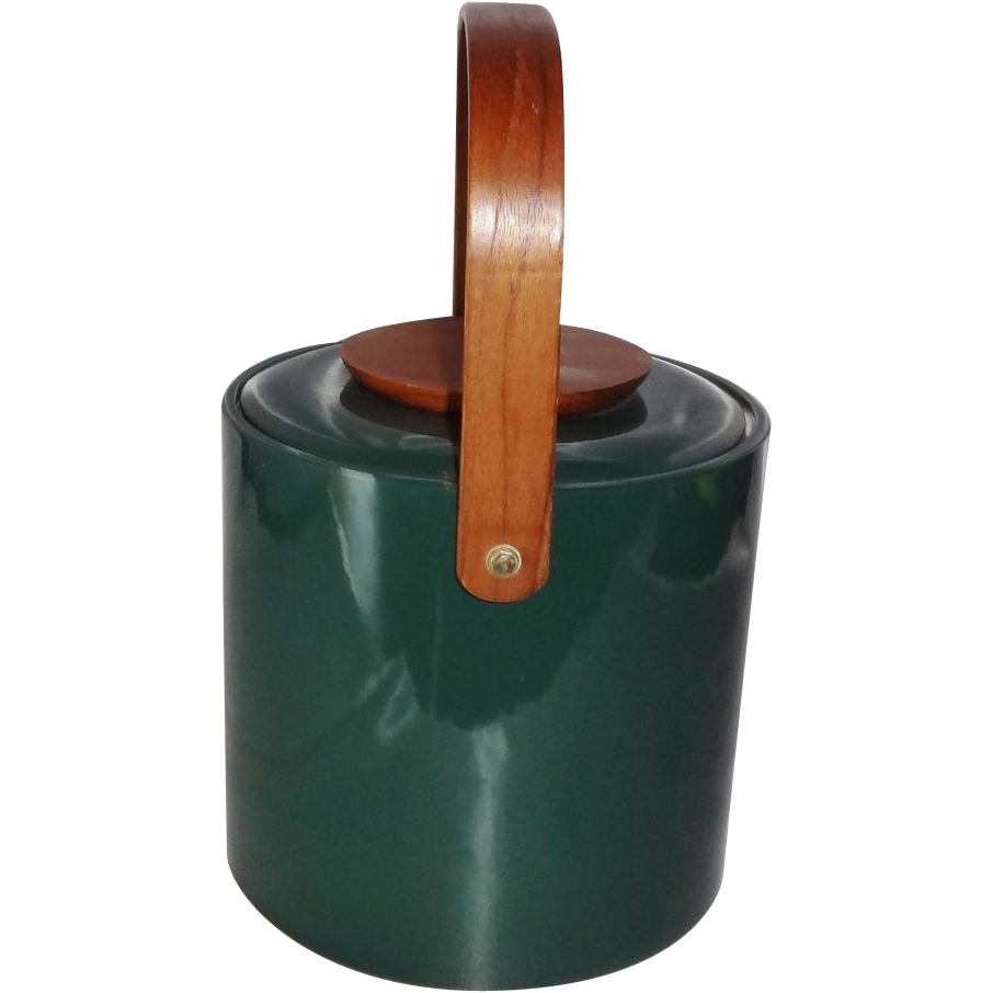 Vintage Mid-Century Green Vinyl and Wood Ice Bucket by George Briard