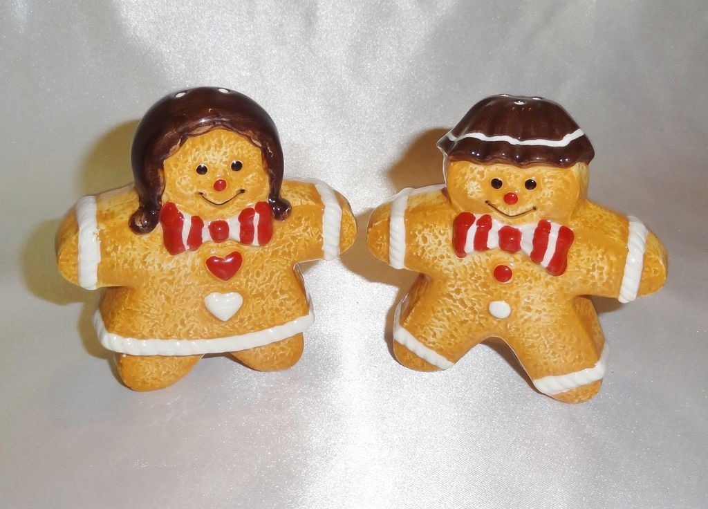 Vintage Figural Ceramic Gingerbread Salt and Pepper Shakers